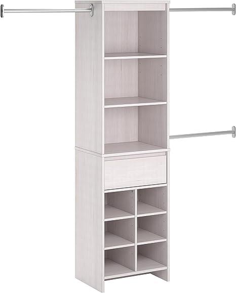 Ameriwood Home Adult Closet Organizer, Vintage White best closet shelving system