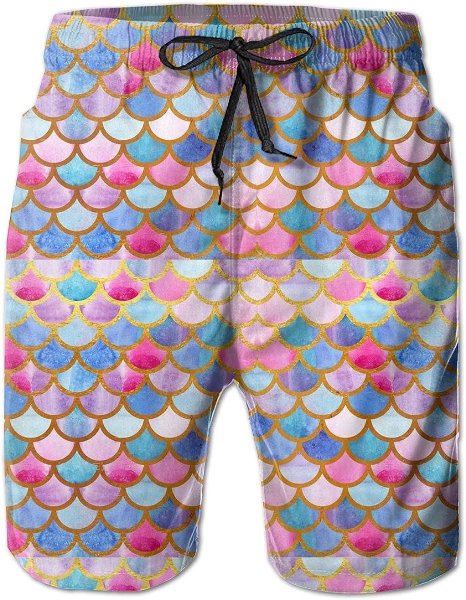 WMDJEG Watercolor Fish Scales Mens Summer Beachwear Sports Running Swim Board Shorts Mesh Lining