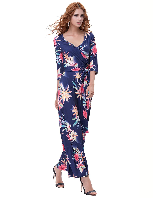Belle Poque Womens Bohemian Dress 3 4 Sleeve Floral Faux Wrap Maxi Robe  Dresses 3b67f4b6f023