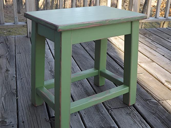 Distressed Green Wood Side Table   Small End Table