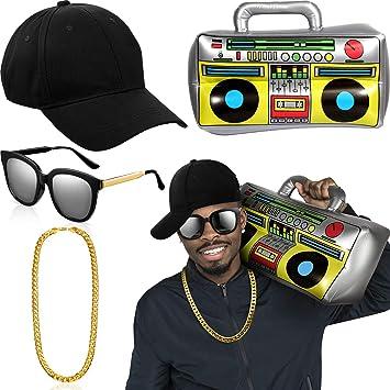 Amazon.com: Hip Hop - Kit de disfraz para sombrero, gafas de ...
