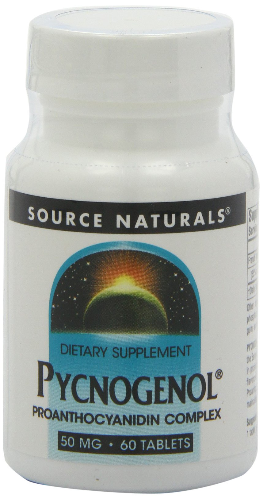 Source Naturals Pycnogenol 50mg Proanthocyanidin Complex Herbal Antioxidant French Maritime Pine Bark Extract - 60 Tablets