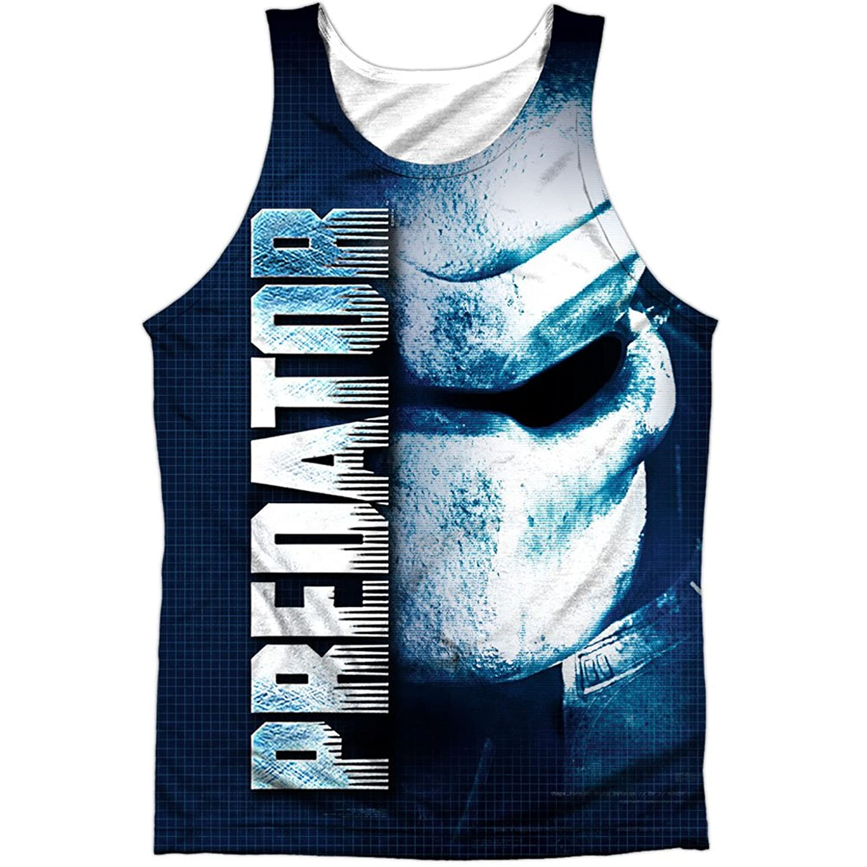 Predator 1980's Sci-Fi Horror Movie Masked Alien Front Print Tank Top Shirt