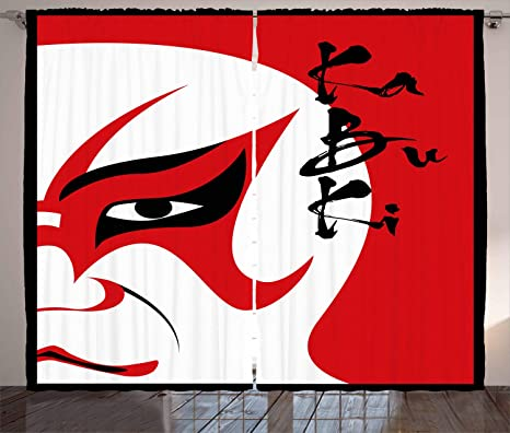 Kabuki máscara decoración cortinas por Ambesonne, drama de estilo ...