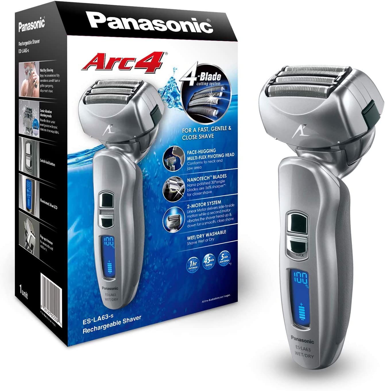 Panasonic ES-LA63-S - Afeitadora (battery/accu, Litio-Ion, 1 h, 100-240 V, 68 mm, 55 mm) Plata: Amazon.es: Salud y cuidado personal