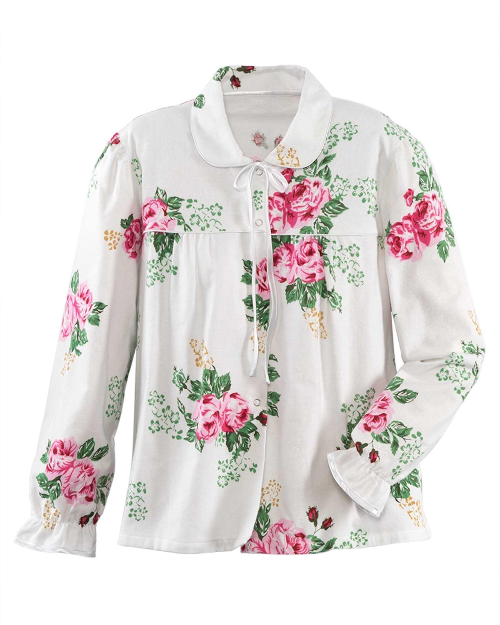 La Cera Flannel Bed Jacket, Rose Print, 2X