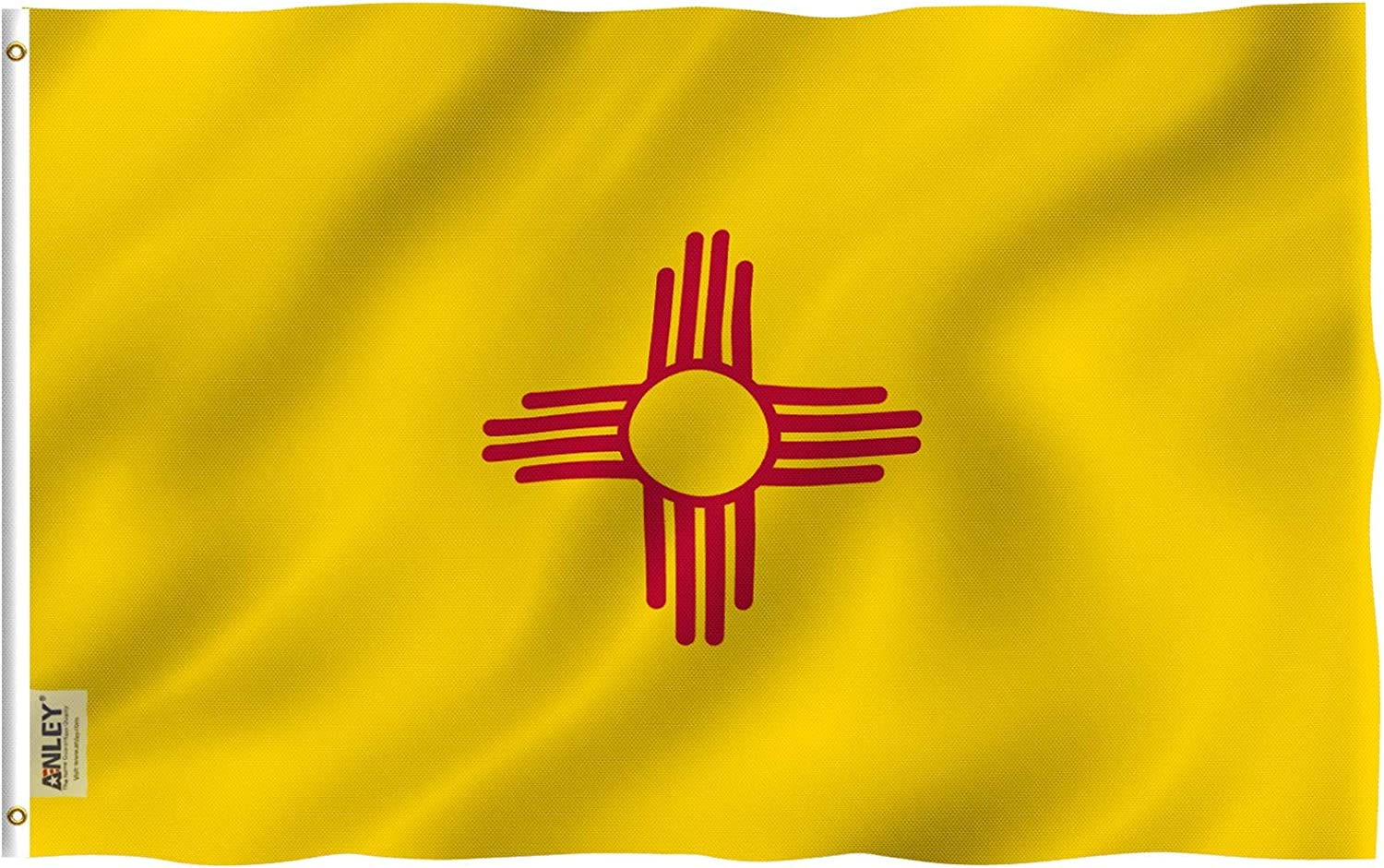 Anley Fly Breeze 3x5 Foot New Mexico State Flag - Vivid Color and Fade Proof - Canvas Header and Double Stitched - New Mexico NM Flags Polyester with Brass Grommets 3 X 5 Ft