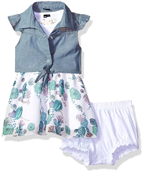 GUESS Baby Girls  Short Sleeve Denim and Chiffon Dress with Diaper Cover 84f5da053