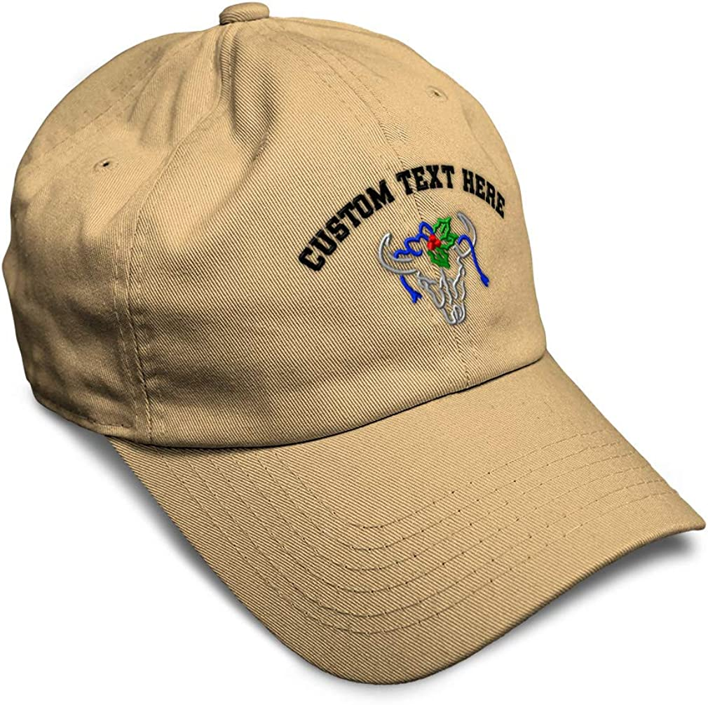 Custom Soft Baseball Cap Christmas Skull Embroidery Dad Hats for Men /& Women