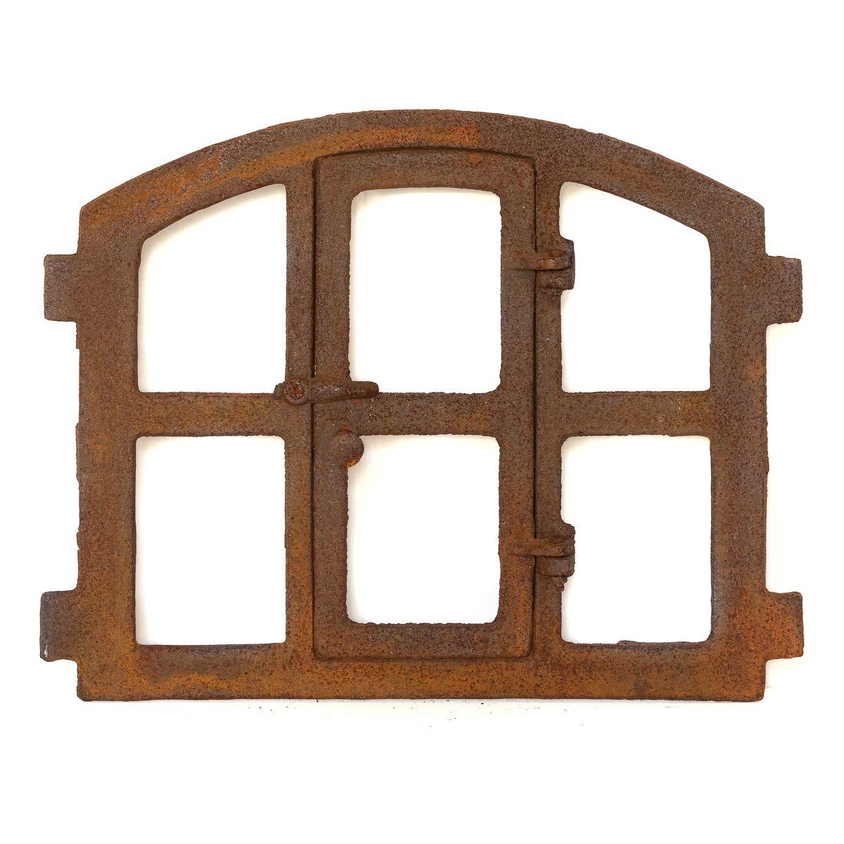 Antikas   Eisenfenster in antiken lä ndlichen Stil   Hö he ca. 42 cm, Breite ca. 48 cm   Fensterrahmen aus Gusseisen   Fenster fü r Stall- und Gartenmauern