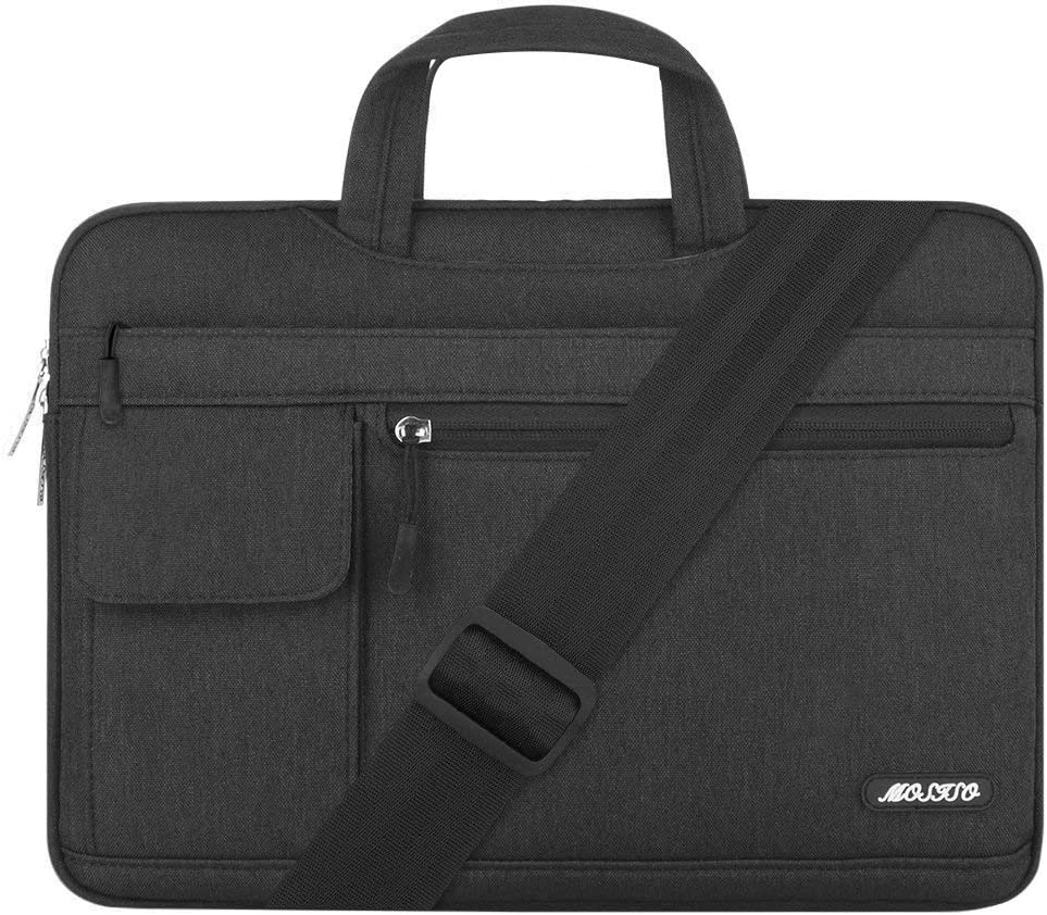 MOSISO Laptop Shoulder Bag Compatible with 15 inch MacBook Pro with Touch Bar A1990 A1707 2016-2019, 14 inch Thinkpad, Polyester Flapover Briefcase Sleeve Case, Black