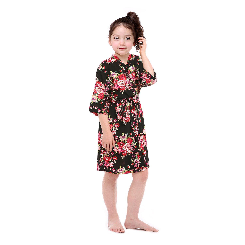 Lilywei Kids' Floral Print Cotton Kimono Robe Bathrobe For Spa Party Wedding Birthday (Black,12)
