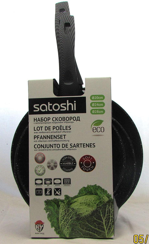 satoshi - Juego de 3 sartenes (20,24,28 cm, Revestimiento Antiadherente): Amazon.es: Hogar