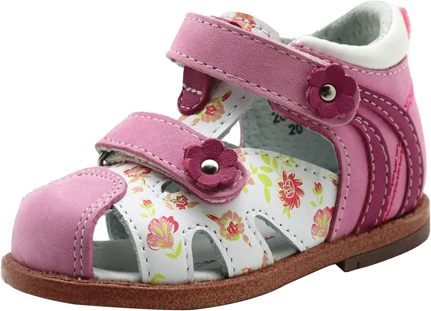 Apakowa Kids Baby Infant Toddler Girls Leather Sandal with Arch Support