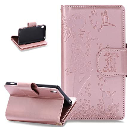on sale 479f2 9fbfb Sony Xperia XA Case,Sony Xperia XA Cover,ikasus Embossing Floral Flower  Girl Cat Birds PU Leather Fold Wallet Pouch Flip Stand Credit Card ID  Holders ...