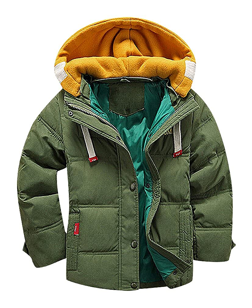 BPrince Boys Quilted Zip Up Contrast Cotton Hood /& Lining 2 Pocket Warm Jacket