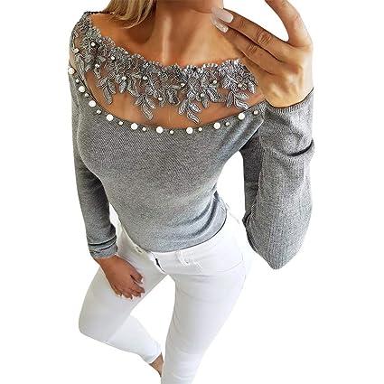 Amazon.com: Berryhot - Camisa de manga larga para mujer ...
