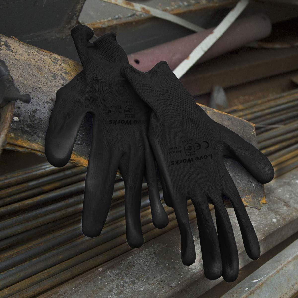 12 Paia di Guanti da Lavoro Multifunzione in Nitrile Loveworks.Ideali per riparazioni Nero M Industria con Alta Resistenza!