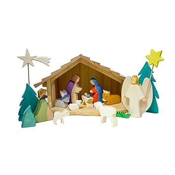 Amazon.de:Holzspielwaren Ackermann Weihnachtskrippe aus Holz - 16 ...