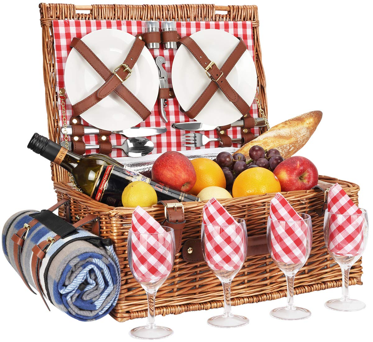 Sunflora Wicker Picnic Basket for 4 Persons Set with Large Insulated Compartment Premium Stainless Steel Cutlery and Portable Picnic Blanket for Family Camping, Gift