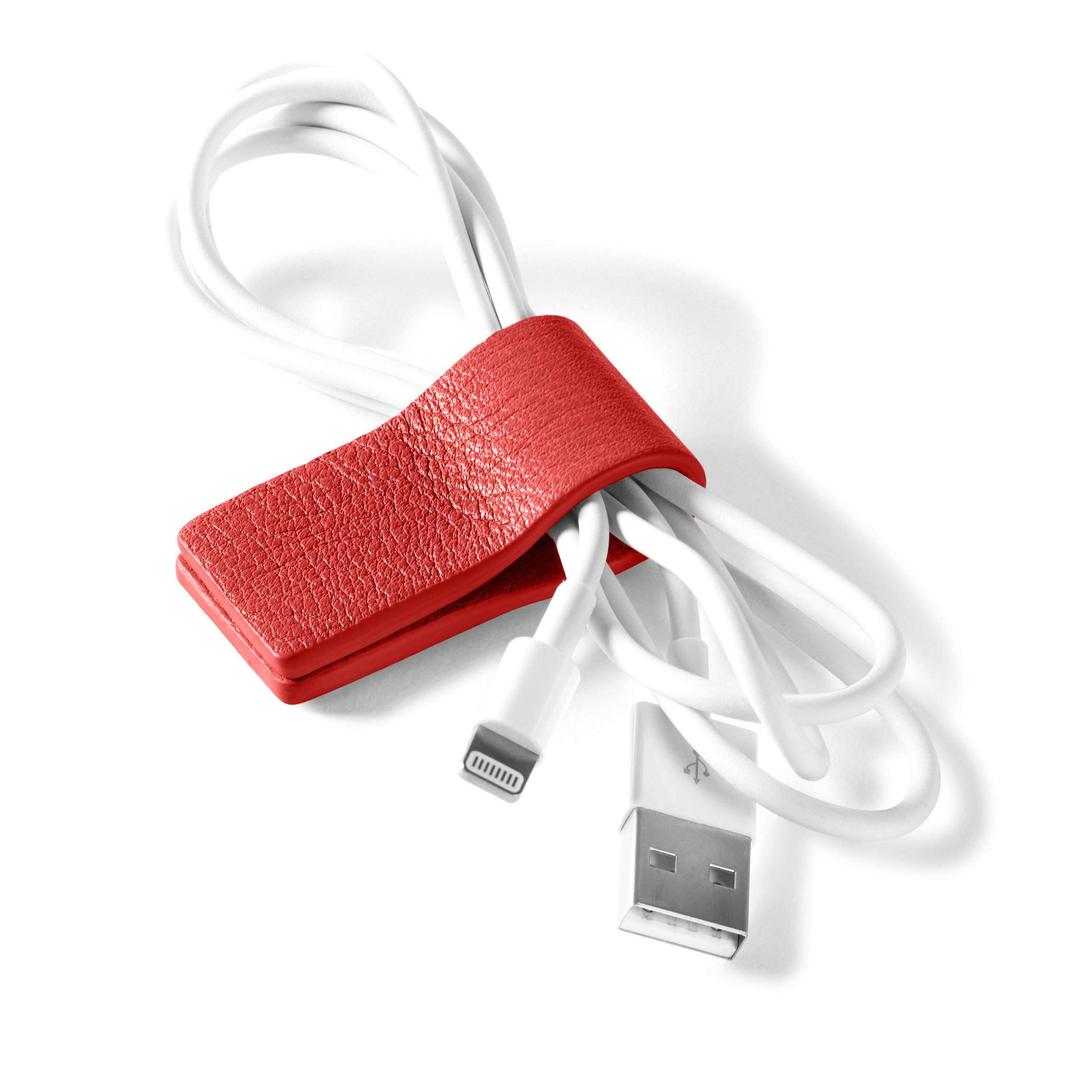 Cord Wrap - Full Grain Leather Leather - Scarlet (red)