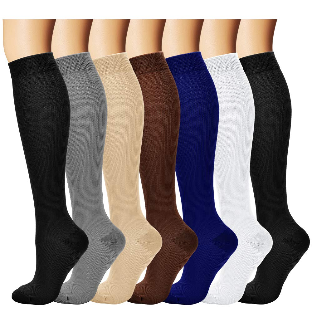 BLUEMAPLE Compression Socks for Women and Men, Best For Running, Athletic Sports, Crossfit, Flight Travel, Suits Nurses, Maternity Pregnancy, Shin Splints, Below Knee High, Assorted 1-S, 6 Pairs
