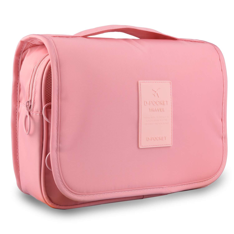 Goldwheat Waterproof Hanging Toiletry Kit Bag Travel Cosmetic Makeup Organizer for Women Girls,Pink