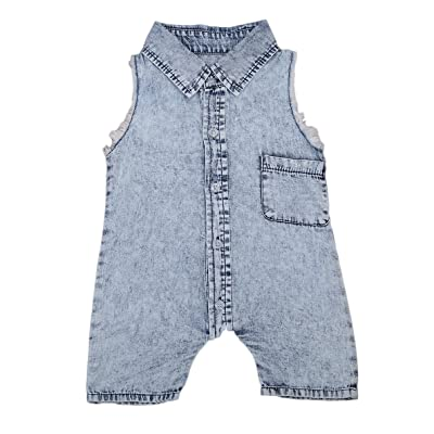 29e763ed8 Infant Baby Boys Denim Romper Jumpsuit Sleeveless Overalls Outfit Summer