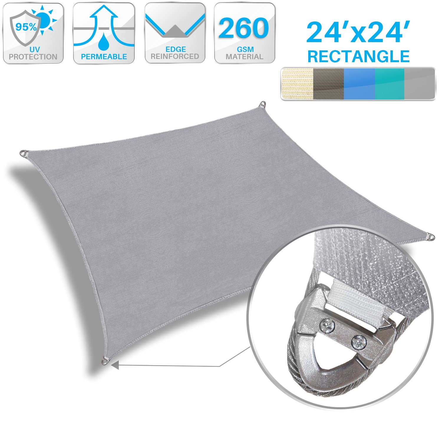 Patio Large Sun Shade Sail 24' x 24' Rectangle Heavy Duty Strengthen Durable Outdoor Canopy UV Block Fabric A-Ring Design Metal Spring Reinforcement 7 Year Warranty -Light Gray by Patio Paradise