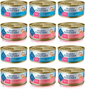 Blue Buffalo Healthy Gourmet Indoor Wet Cat Food Variety Pack - 2 Flavors (Chicken Entree and Salmon Entree) - 12 Total Cans (5.5 oz Each)
