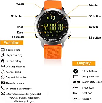kxcd Bluetooth Smart Reloj EX18 Bluetooth 4.0 Smart Reloj 5 ATM ...