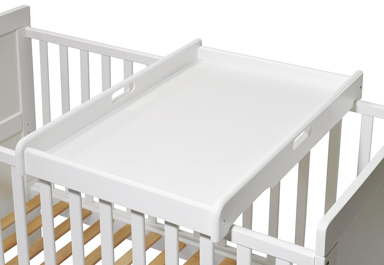 Wickelbrett Wickelaufsatz für Babybetten 140x70 120x60 weiss inkl Wickelauflage
