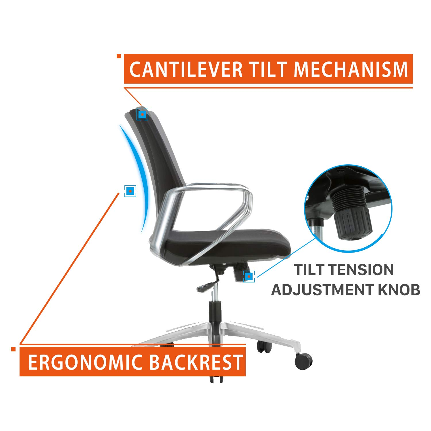 Ergonomic Mid-Back Upholstered Swivel Task Chair with Aluminum Alloy Chrome Arm Rest and Base for Home and Office