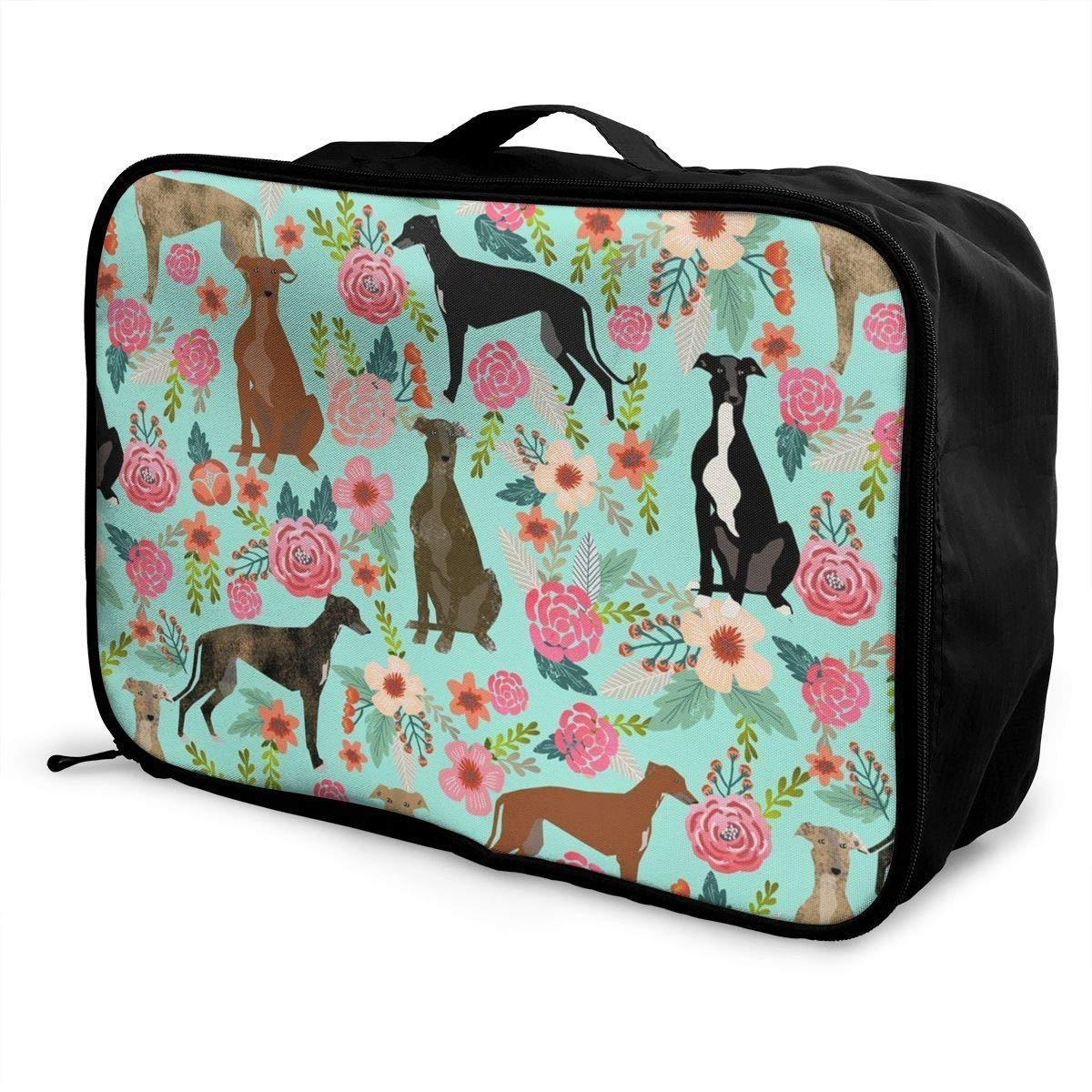 Travel Lightweight Waterproof Foldable Storage Carry Luggage Duffle Tote Bag Greyhound Floral Cute Dog Mint Vintage JTRVW Luggage Bags for Travel