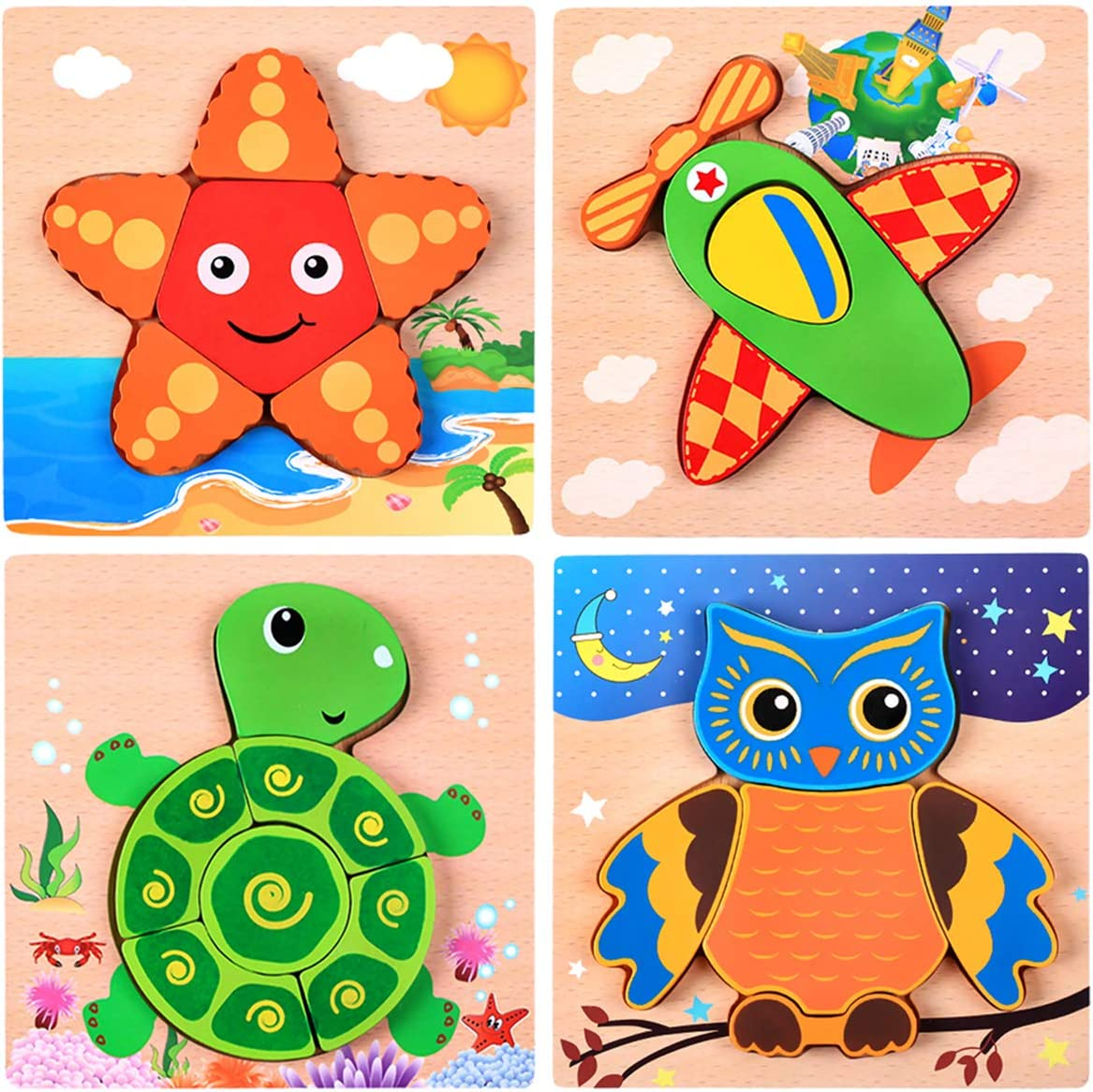 Set of 4 Puzzles Wooden Shapes Puzzles for Toddlers 3-5 Years Old,Bright Vibrant Color Shapes,Boys /& Girls Educational Toys Gift Kids Puzzles,Wooden Animal Jigsaw Puzzles