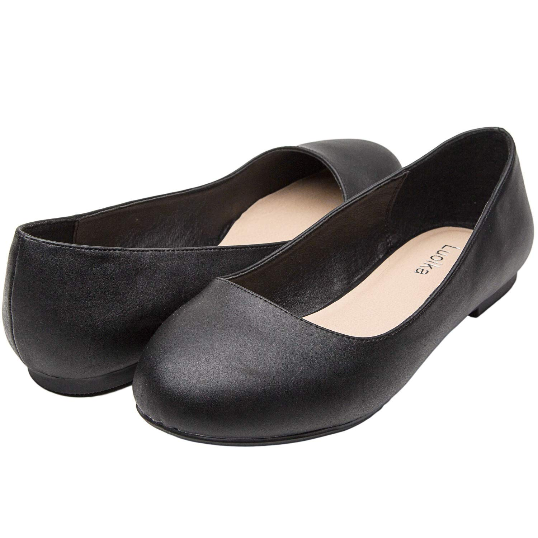 Luoika Women's Wide Width Flat Shoes - Comfortable Slip On Round Toe Ballet Flats. (180110 Black PU,9WW)