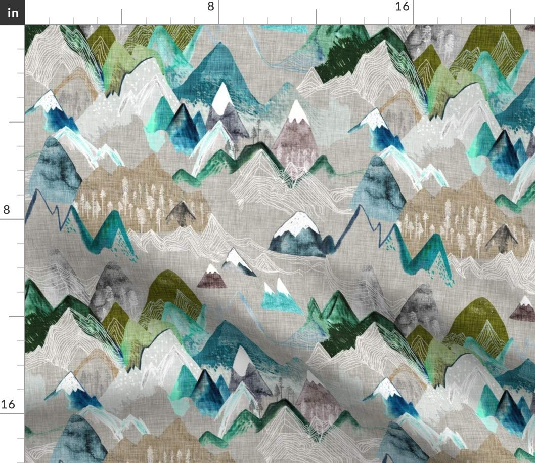 Spoonflower Fabric - Call Mountains Olive Mountain Boy Nursery Adventure Wilderness Printed on Petal Signature Cotton Fabric by The Yard - Sewing Quilting Apparel Crafts Decor