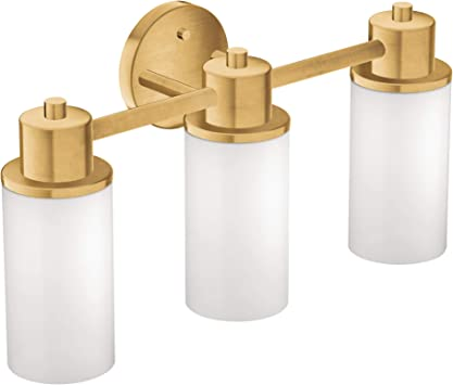 Moen Dn0763bg 3 Light Dual Mount Bath Bathroom Vanity Fixture With Frosted Glass Brushed Gold Amazon Com
