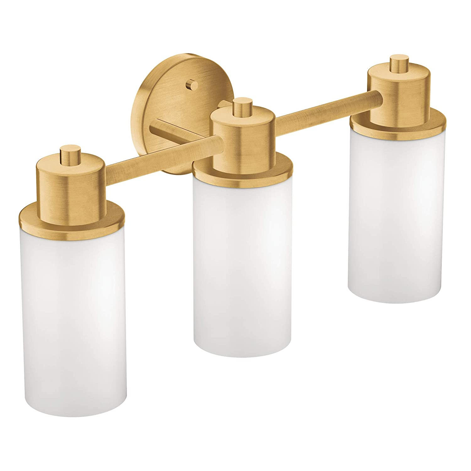 Moen DN0763BG 3-Light Dual-Mount Bath Bathroom Vanity Fixture with Frosted Glass, Brushed Gold