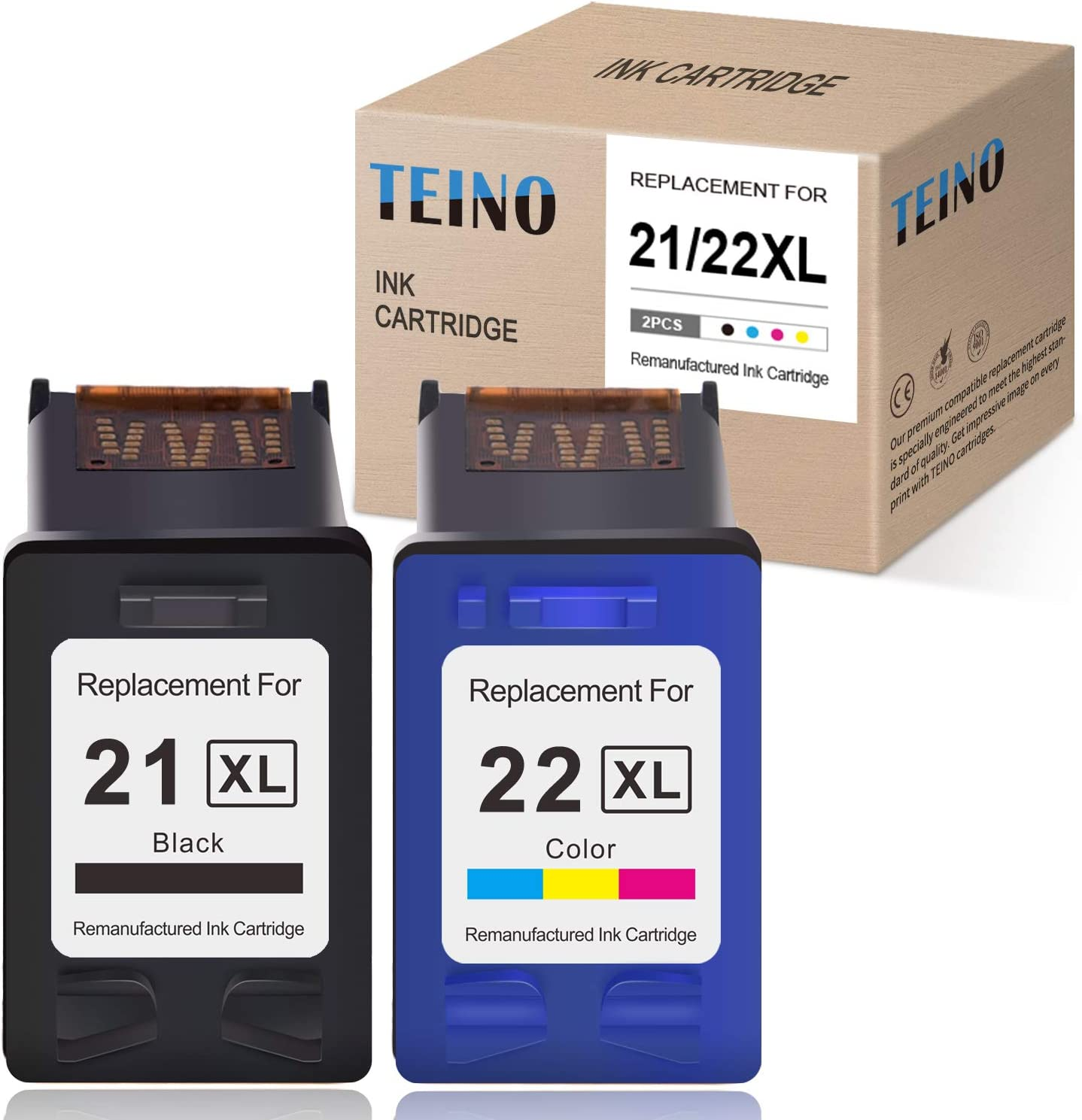 TEINO Remanufactured Ink Cartridge Replacement for HP 21XL 22XL 21 22 C9351AN C9352AN use with HP DeskJet F380 3910 D1520 F2210 3915 D1530 D1455 D1420 F2240 PSC 1410 (Black, Tri-Color, 2-Pack)