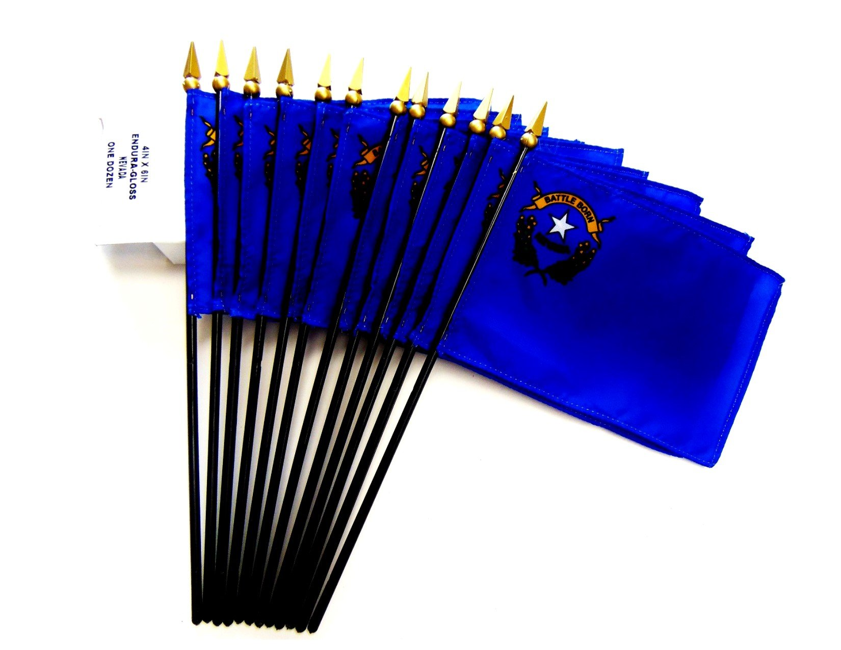MADE IN USA!! Box of 12 Nevada 4''x6'' Miniature Desk & Table Flags; 12 American Made Small Mini Nevada State Flags in a Custom Made Cardboard Box Specifically Made for These Flags