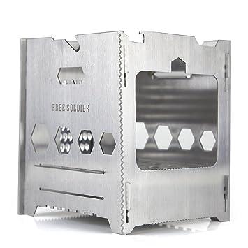 Libre Soldado Acampar estufa multifunción portátil ligero plegable barbacoa estufa de leña (plata): Amazon.es: Deportes y aire libre