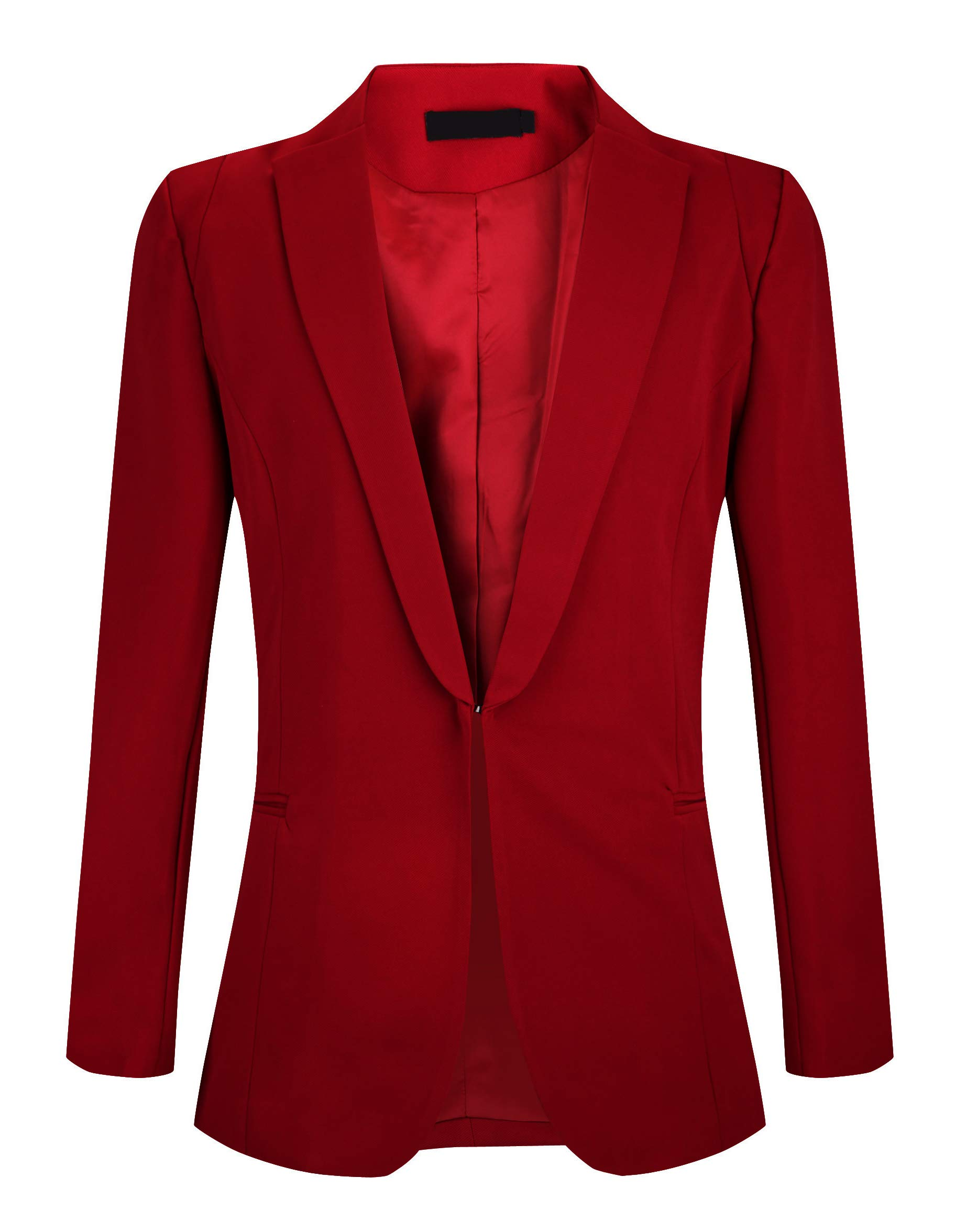 SHUIANGRAN Women's Juniors Work Office Blazer Long Slim Fit Blazers Business Jacket Wine Red US 10 (tag Asian 3XL)