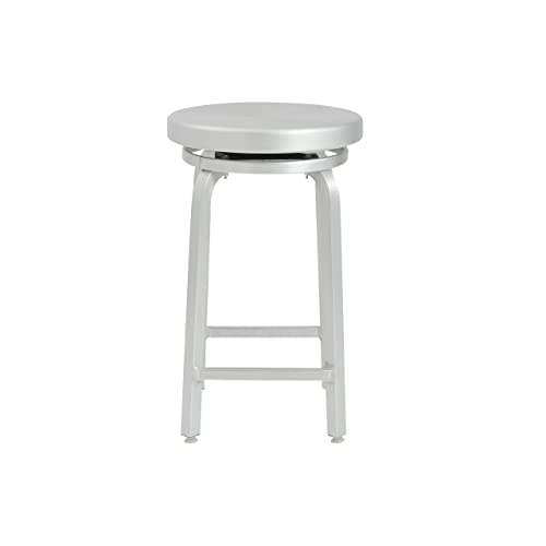 Euro Style Miller Counter Height Swivel Stool, Aluminum