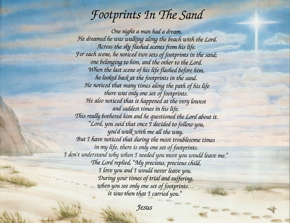 photo about Footprints in the Sand Poem Printable Version titled Names Toward Bear in mind Footprints in just The Sand upon Footprints Artwork Record inside English or Spanish