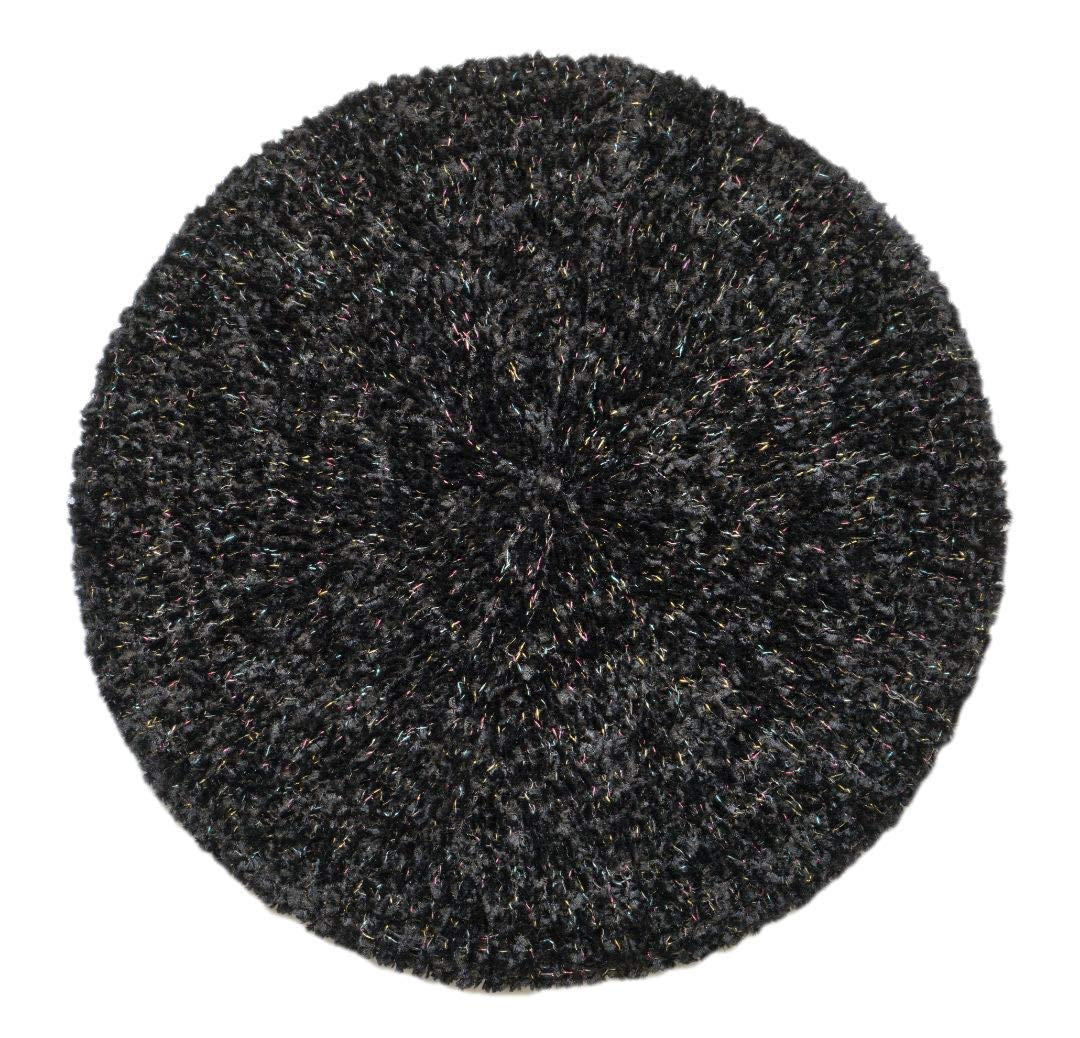 Lizi Headwear Chenille Lurex Slouchy Beanie Beret Hat for Women (Black/Colorful)