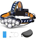 Rechargeable Headlamp, TAZLER 8 LED Head lamp Flashlight 13000 Lumens 8 Modes with USB Cable 2 Batteries, Waterproof LED…