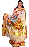 Saarank Murals Cotton Saree (Krishna And Radha_Off-White)