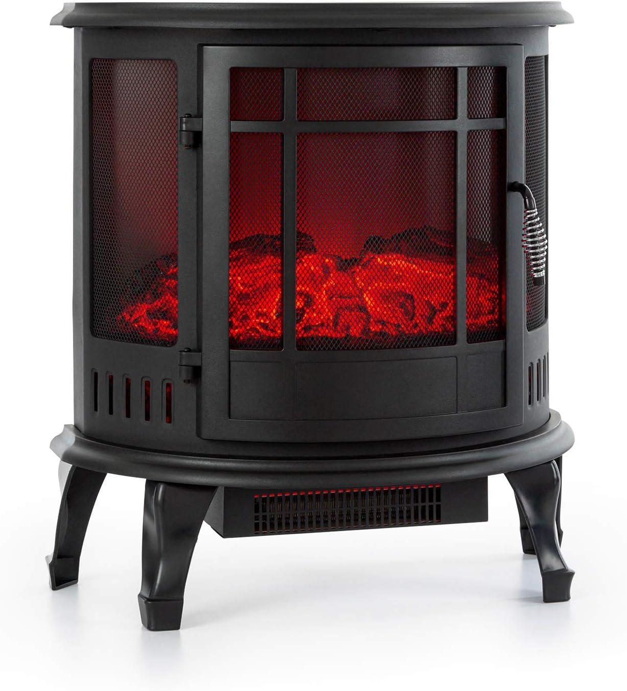 KLARSTEIN Megève Chimenea eléctrica - Potencia 1850 W, LED Regulable InstaFire sin Fuego ni Humo, Control Remoto, termostato, protección contra sobrecalentamiento, Negro