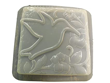 Hummingbird and Flowers Stepping Stone Concrete Mold 1012 Moldcreations